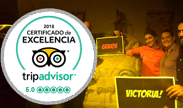 Certificado de Excelencia Tripa Advisor 2018 - Escape Rooms México